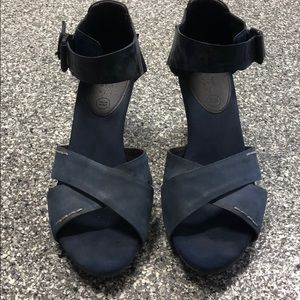 Geox Rispera Navy Leather/suede wedge sandals